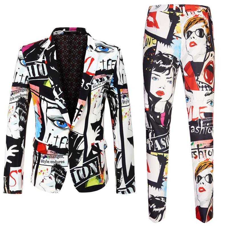 (Blazer+pants) Trend Mens Fashion Print 2 Sets Of Casual Wear Large Size Men's Slim Suit Male Singer Wedding Magazine Stage Wind