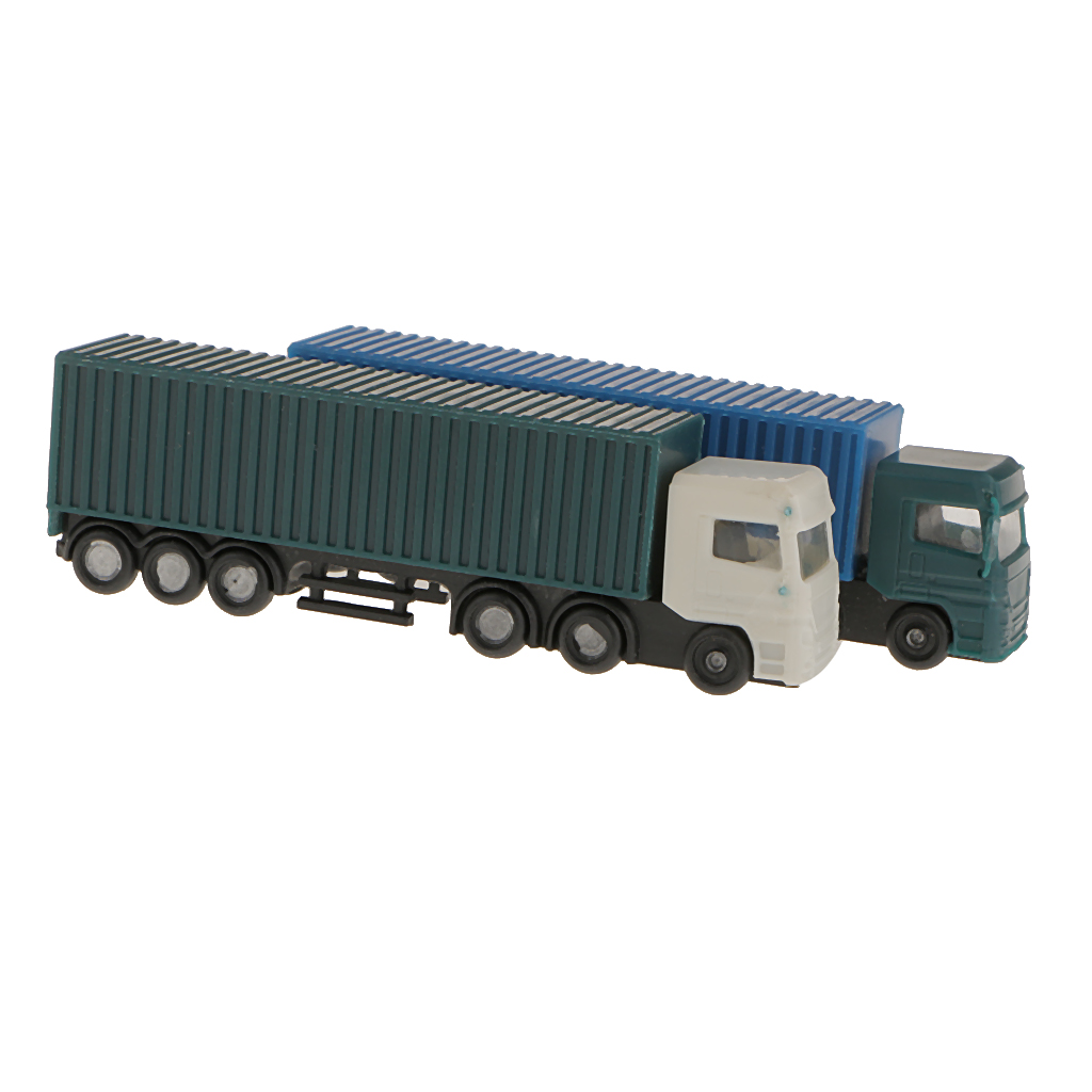2Pcs Model Container Truck Figure Transporter Truck Vehicle Car 1:150 N Scale Building Scenery Layout