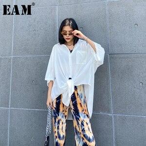 [EAM] Women White Irregular Big Size Long Thin Blouse New Lapel Half Sleeve Loose Fit Shirt Fashion Spring Summer 2020 1W563