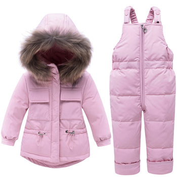 Winter Warm White Duck Down Fur Baby Girls Boys Clothing Sets Child Coat+Pant Children Outerwear Kids Sets For 80-100cm