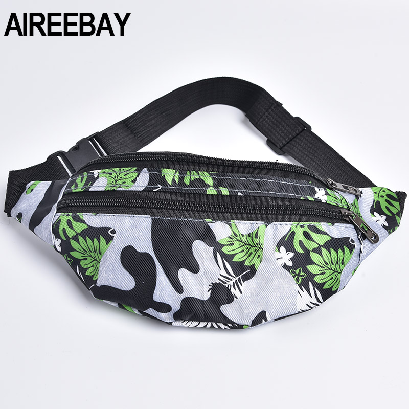 AIREEBAY Fanny Pack For Women Men Waist Bag Colorful Printed Unisex Waistbag Belt Bag 3 Zipper Pouch 2019 New Travel Chest Bag