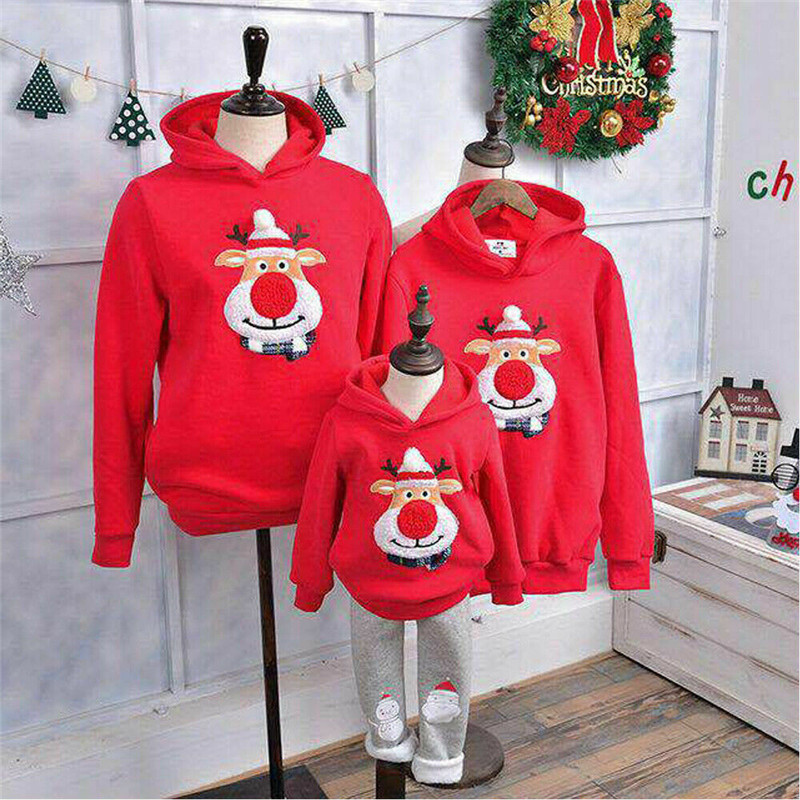 2019 Christmas Family Matching Clothes Daddy Mum Kids Boy Girld Xmas Hoodies Cartoon Deer Print Hooded Sweatshirts Tops Clothes