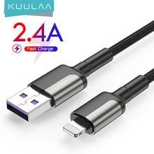 KUULAA USB kablosu yıldırım için 2.4A iPhone için hızlı şarj kablosu 12 11 Pro Max Xs X 8 7 6 artı kordon tel USB veri şarj kablosu