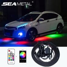 Auto Underglow Licht Streifen Kit 4PCS RGB Flexible Fließende LED Streifen APP/Fernbedienung Auto Waren Wasserdicht Neon accent Lichter