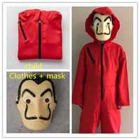 Salvador Dali film La maison du papier La Casa De Papel enfant adulte Cosplay fête Halloween masque argent Heist Costume & masque