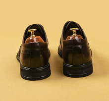 Flat Men Shoe Genuine Leather Brogue Shoes Handmade Vintage