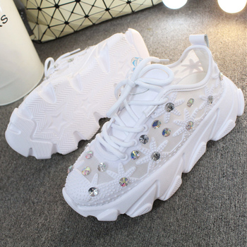 Rhinestone Wedge Sneakers Women Trainers Dames Chunky Sneaker Platform 2020 White Sneaker Casual Shoes Woman chaussures femme 3