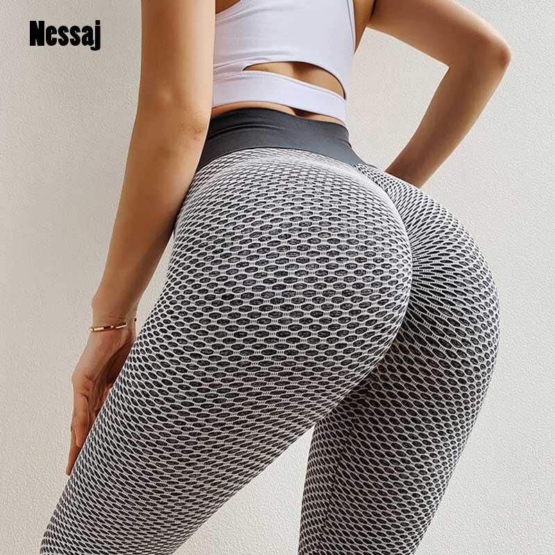 Nessaj Mesh Push Up Sexy Hips Leggings Women High Waist Elastic Trousers Sexy Fitness Sportswear Push Up Workout Jeggings Pants