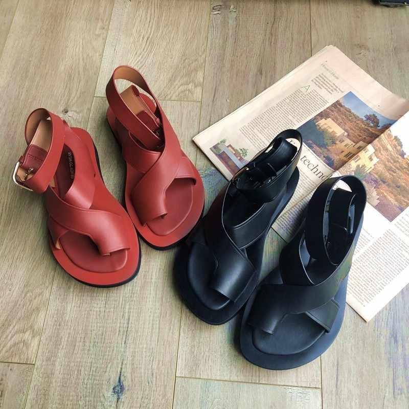 High Street Vrouwen Casual Lederen Slippers Sandalen 2019 Nieuwe Zomer Schoenen Enkelband Lederen Platform Sandalen Vintage Gladiator