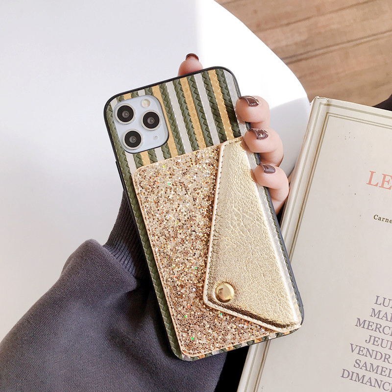 Fashion Weaving Bling Phone Case For iPhone 11 Pro Xs Max 6S 8 Plus Glitter Card Slot Cover Case On 11 Pro Max 6 7 Plus Housing