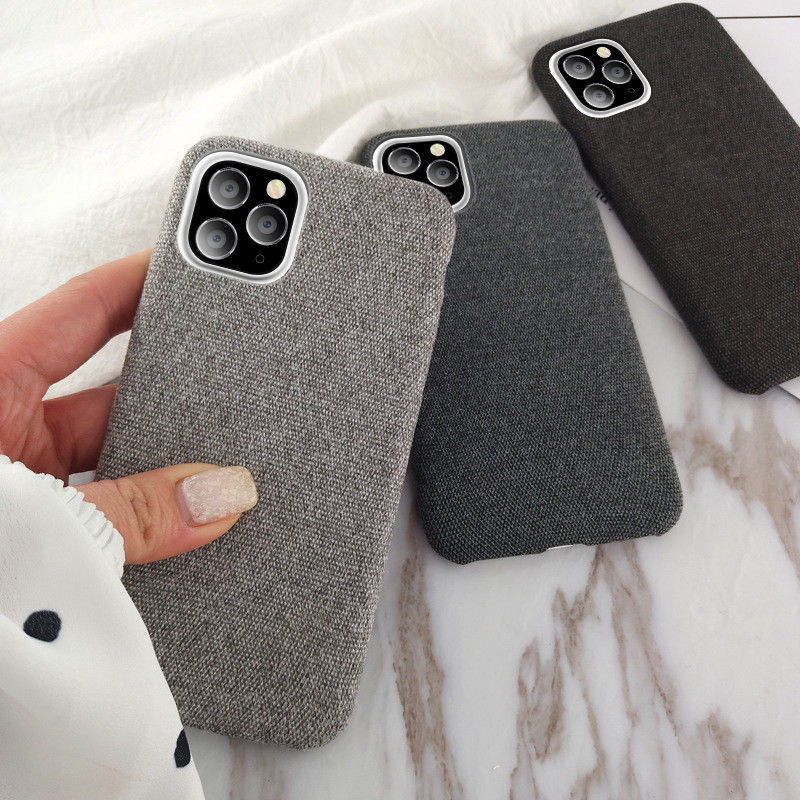 Warm Plush Cases For Iphone 11 Pro Max XS Max XR X 6 6S 7 8 Plus Cotton Linen Canvas Fabric Soft TPU Silicone Cover Fundas
