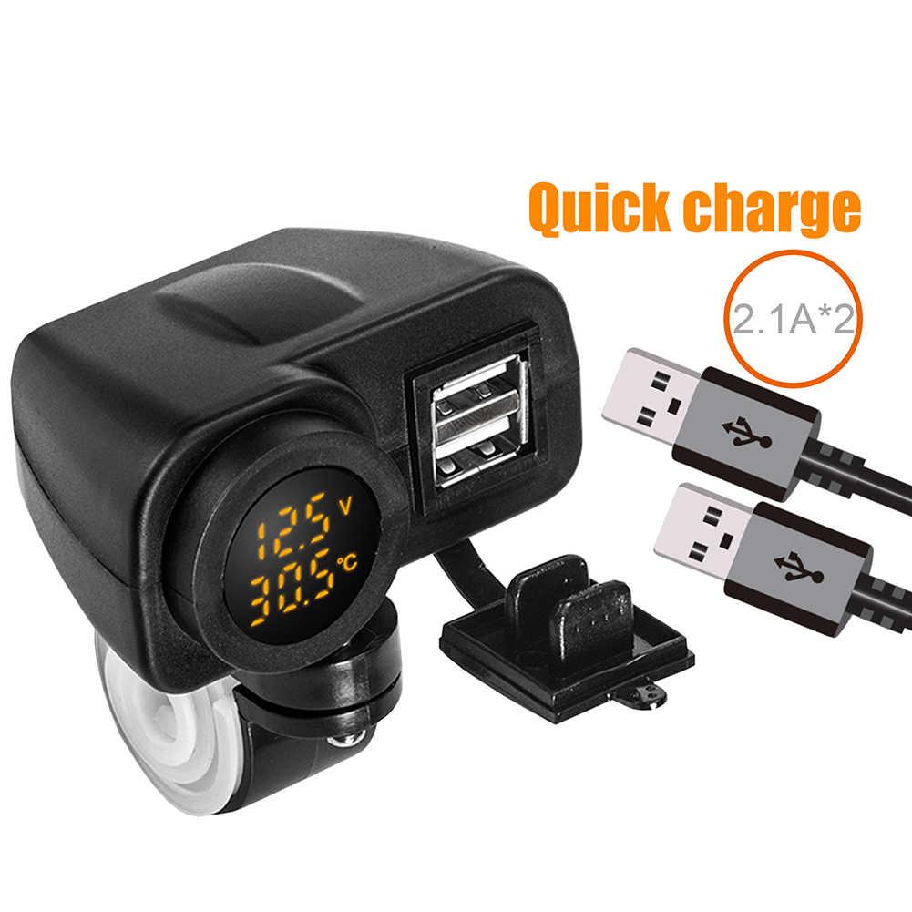 Cargador de teléfono para motocicleta, pantalla Digital, Cargador USB Dual para motocicleta, voltímetro, termómetro para teléfono móvil