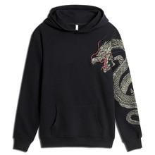 Dragon Embroidery Fleece Coat National Giant Popular Hoodie Men Hooded Casual Animal Cotton Sweatshirts Hip Hop Tops harajuku