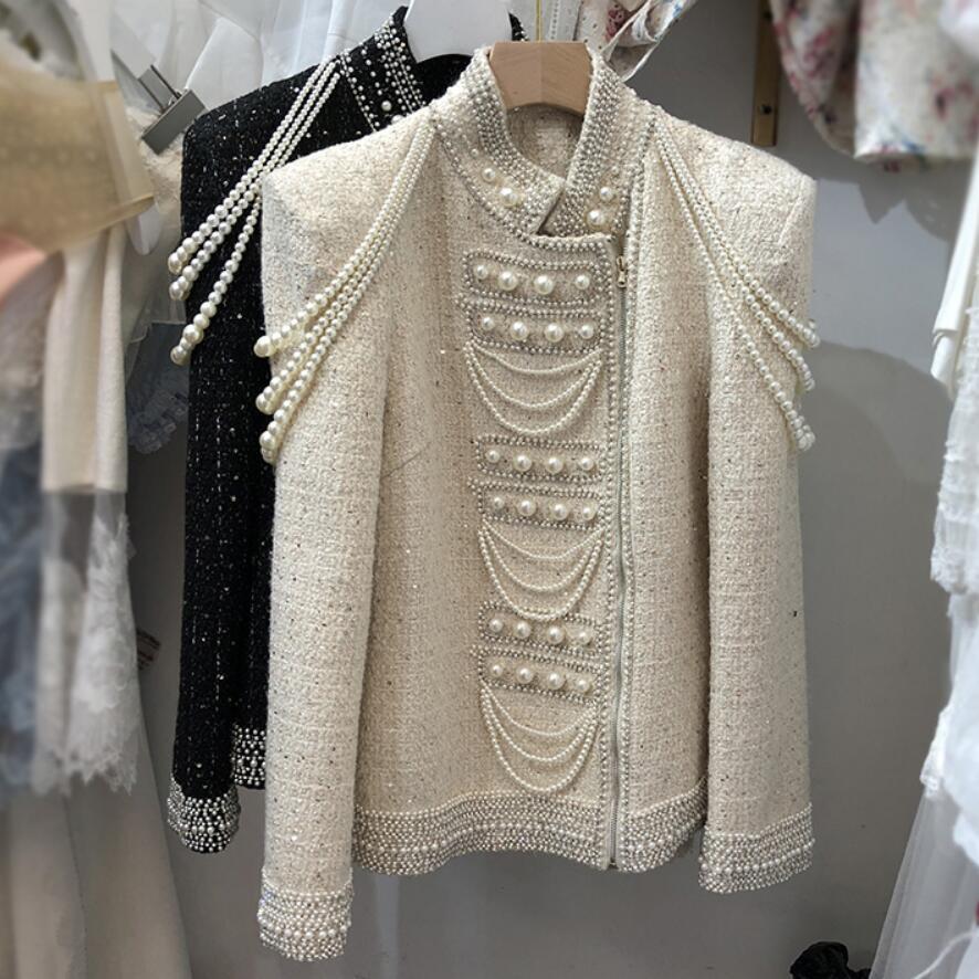Small Fragrance Vintage Hand Beaded Diamond Tweed Woolen Coat Women Autumn Winter Stand Collar Fashion Jacket