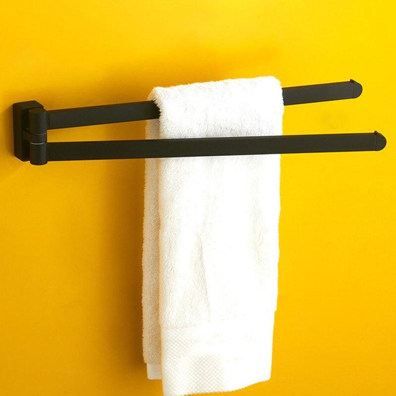 Swivel Towel Bar Movable Double Towel Rails Chrome Polished Matt Rubber Black Bathroom Accessories