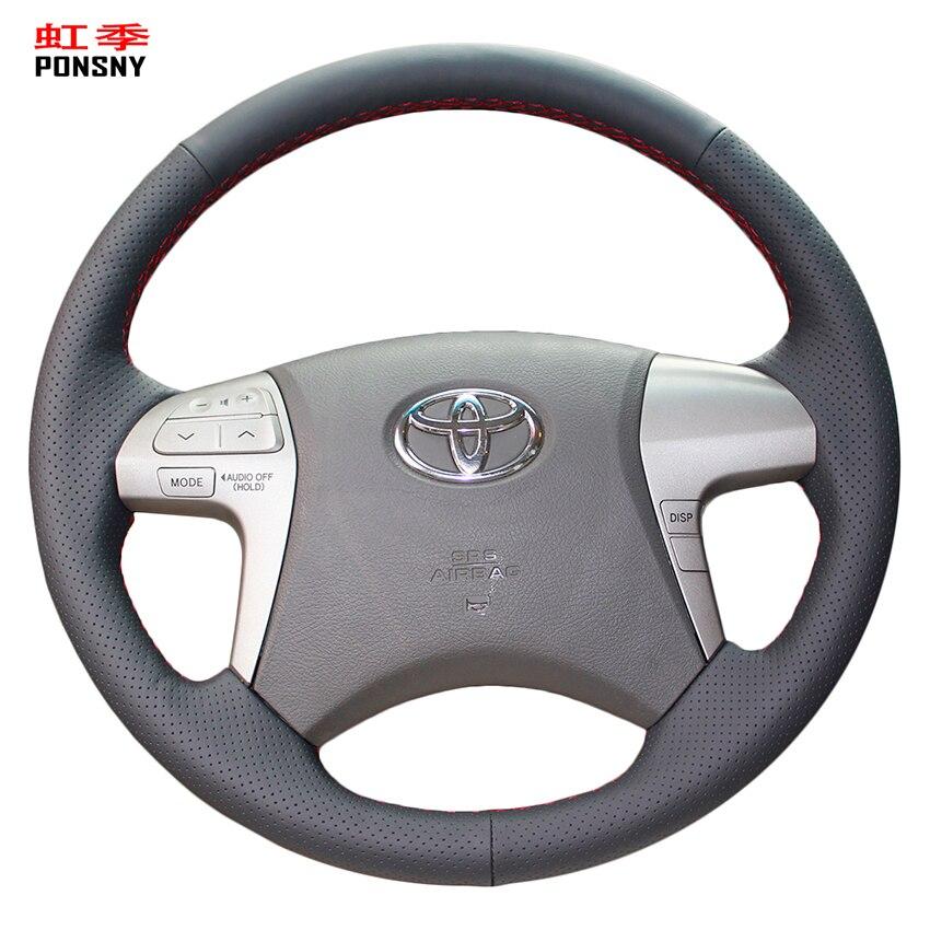 PONSNY искусственная кожа черного цвета для Toyota Highlander 2009-2014 Camry 2007-2011 Fortuner Hilux 2012