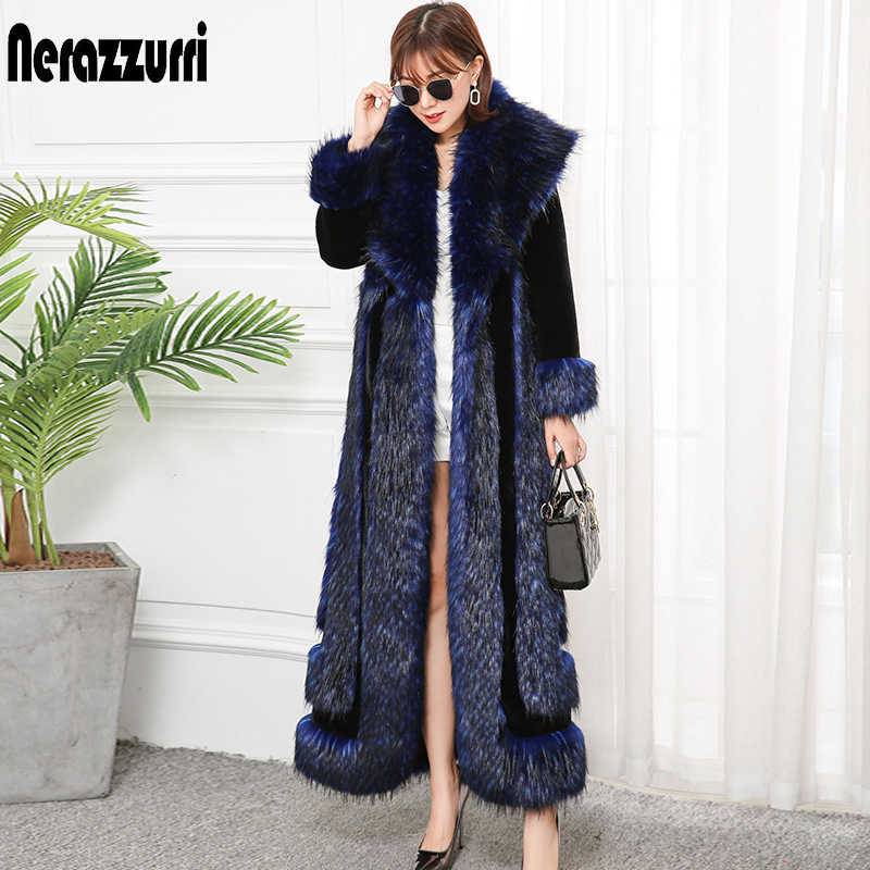 Nerazzurri Extra long winter faux fur coat 2019 runway womens fashion plus size streetwear fluffy thicken warm fake fur coats