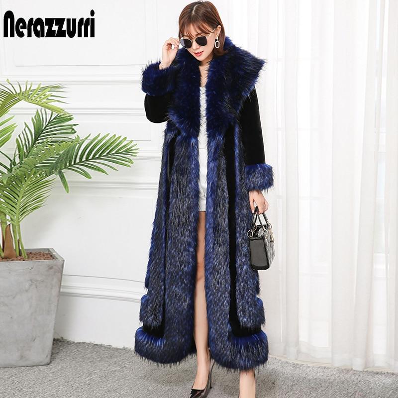Nerazzurri Extra Long Winter Faux Fur Coat 2019 Runway Womens Fashion Plus Size Streetwear Fluffy Thicken Warm Fake Fur Coats