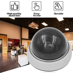 Home Safe Camera Outdoor Indoor Red LED Flashing Light White Dummy Dome CCTV Security Camera Cam
