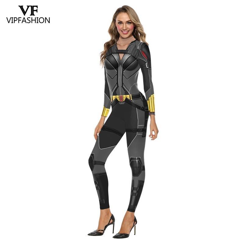 Image 2 - VIP FASHION Moive Superhero Avengers Black Widow Cosplay Costumes Natasha Romanoff Jumpsuits Halloween Purim Carnival CostumesMovie & TV costumes   -