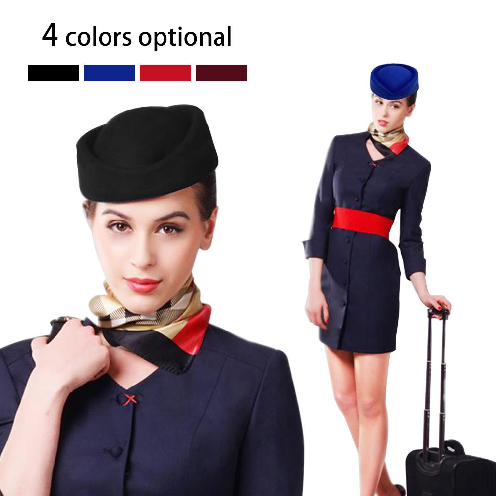 Retro Cap Air Stewardess Flight Attendant Navy Pin Up Hat Captain Fancy Party