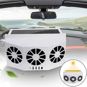 Car Fan Solar Powered Car Cooler Front/Rear Window Radiator Exhaust Fan Auto Air Vent Fan Ventilation Radiator Cooling System(China)