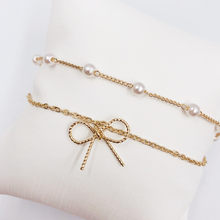 Delicate frosted bow bracelet natural pearl chain lovely woman gift(China)