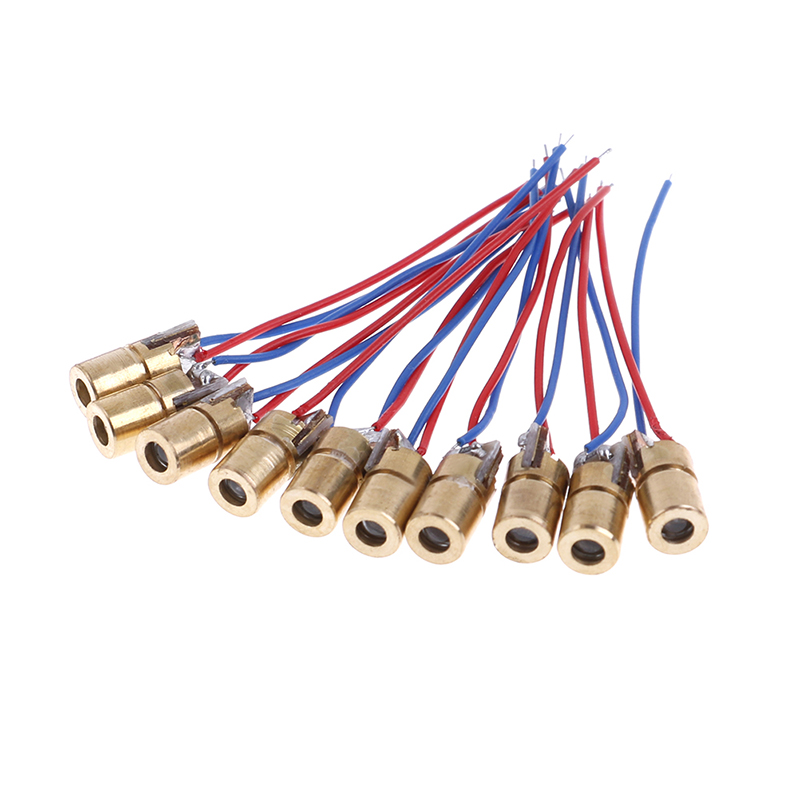 Laser Diode 10pcs 650nm 6mm 3VDC 5 Million Watt Adjustable Laser Dot Diode Module Red Copper Head Mini Laser Pointer