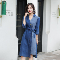 New 5XL Spring Autumn Women Dresses Plus Size Casual V Neck Collect Waist Sashes Patchwork Jeans Dress For Women Denim One Piece