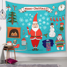 Christmas Tapestry Santa Claus Pattern Home Decorative Tapete Bedroom Blanket Table Cloth Yoga Mat