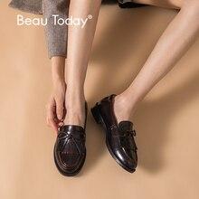 BeauToday ผู้หญิงรองเท้าแตะ Loafers Handmade พู่ Bowknot รอบ Toe SLIP ON คุณภาพสูงของแท้ Lady รองเท้า 27064