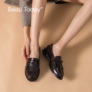 Image 1 - BeauToday Women Moccasin Loafers Handmade Tassel Bowknot Round Toe Slip On Genuine Leather Top Quality Lady Shoes 27064