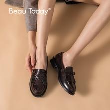 Beautoday 여성 moccasin loafers 수제 술 bowknot 라운드 발가락 슬립 온 정품 가죽 최고 품질의 레이디 신발 27064