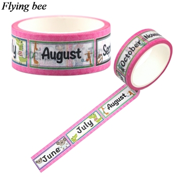 Flyingbee 15mmX5m Paper Washi Tape Month Creative Adhesive Tape DIY Scrapbooking Sticker Label Masking Tape X0685