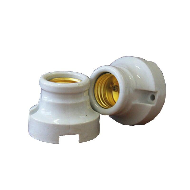 2pcs E27 Lamp Socket Screw Mouth Ceramic Lamp Bases High Temperature Bulb Base Climbing Box Lamp Fitting 6A250V