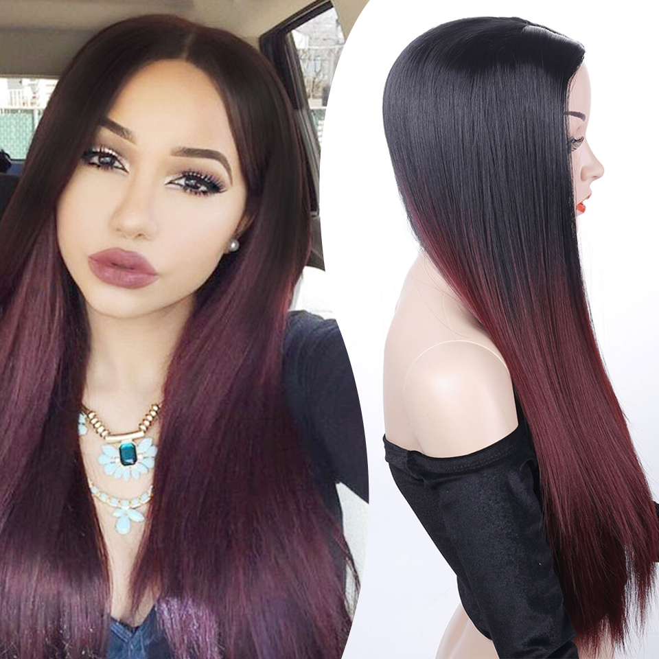 HUAYA Ombre Color Wig Dark Root Red/Purple Long Straight Synthetic Wigs  Women  High Temperature Fiber Cosplay Wig 24 Inches