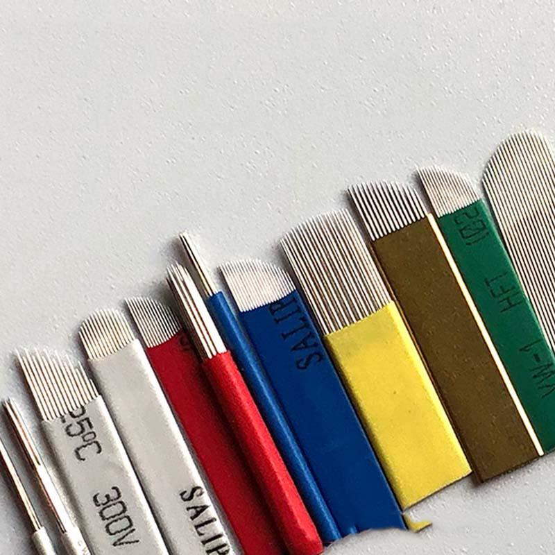 50 PCS Tattoo Blade Flex 7/9/11/12/14/16/18/21 Needles For Manual Pen Semi Permanent Makeup Manual Microblading Eyebrow Needles