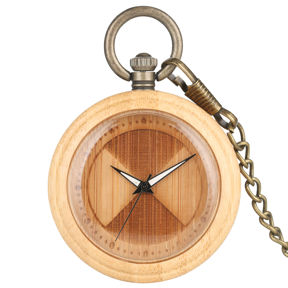 Popular Bamboo Case Pocket Watch For Men Excellent Carved Sector Surface Dial Luminous Pointers Clock Gift Women Montre De Poche