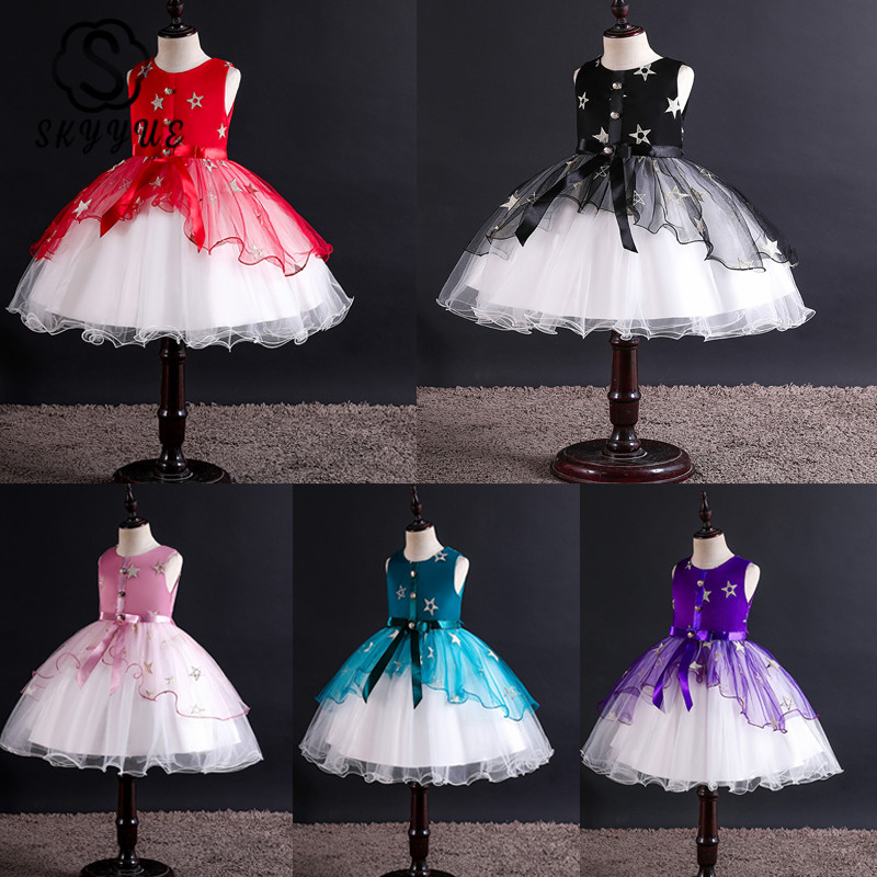 Skyyue   Flower     Girl     Dress   for Wedding Bow Embroidery   Flower   Tulle Tank Ball Gown Kid Party Communion   Dress   Princess 2019 2010