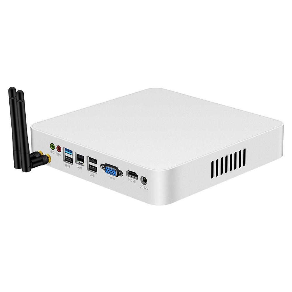 Mini PC Intel Core I5 7200U I7 7500U Windows 10 Linux DDR3L RAM MSATA SSD 4K HTPC Computer HDMI VGA WiFi Gigabit Ethernet 6xUSB