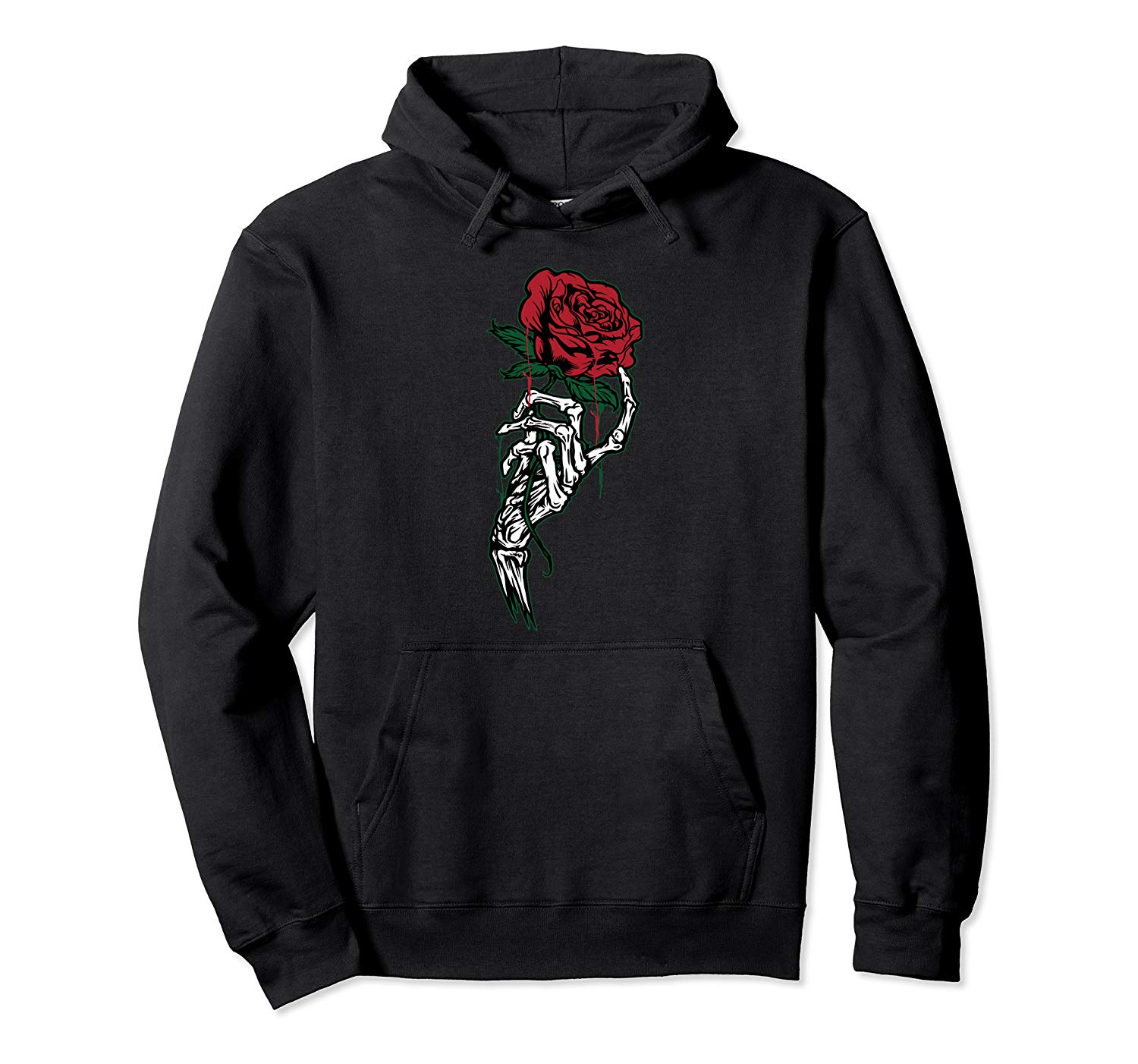 Rose Flower Tattoo - White Skeleton Hand Holding A Red Rose Pullover Hoodie & Swearshirt