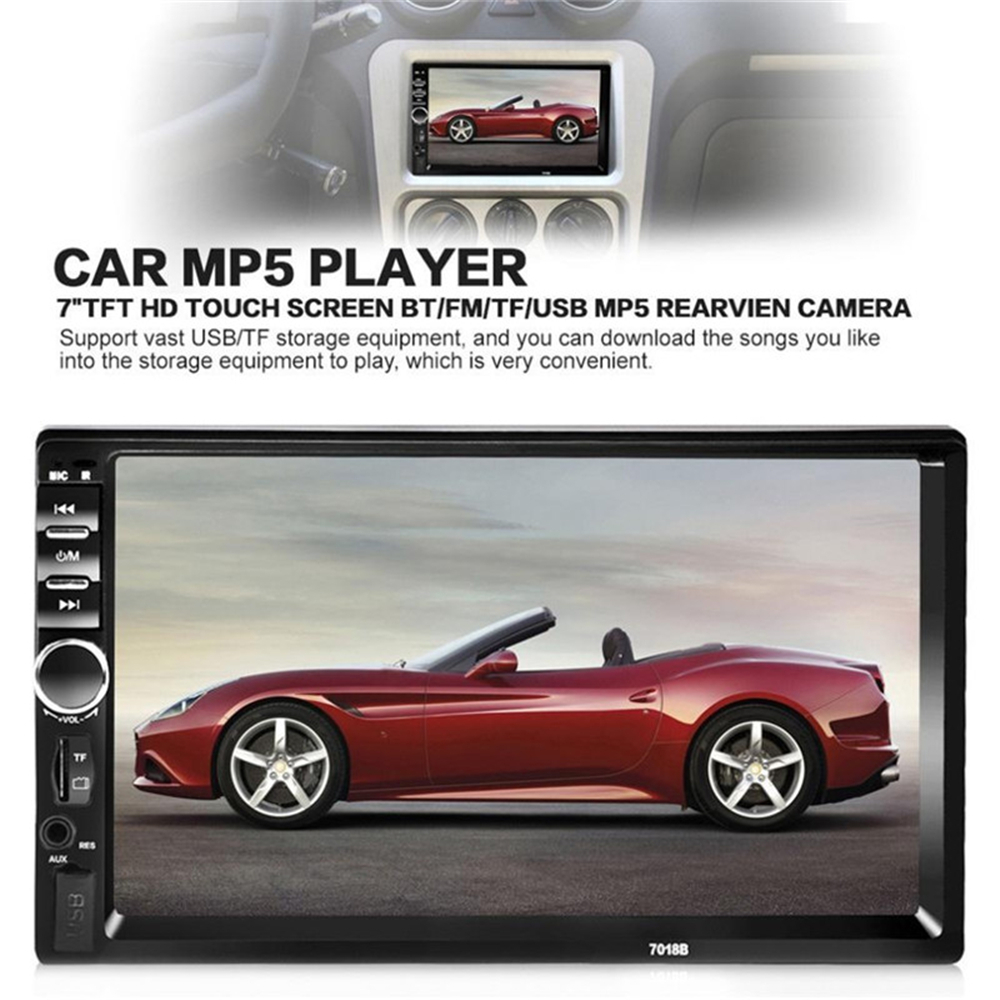 Autoradio <font><b>2Din</b></font> General Car Radio 7'' LCD Touch Screen Stereo MP5 Player USB FM Bluetooth Audio Support Rear View Camera <font><b>7018B</b></font> image