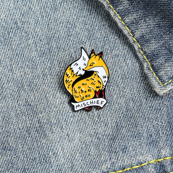 Cartoon Fox Animal Brooch Enamel Pins Anti-Glare Personalized Flag Pin Lapel Pins Mischuef Fox Brooch Bag Badges Jewelry Gifts image