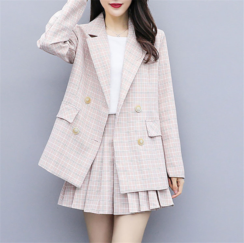 MUMUZI 2019 Autumn Winter Tweed 2 Piece Set Women Slim Plaid Short Set Fashion Trim Jacket Coat + Pleated Short Skirts Suit