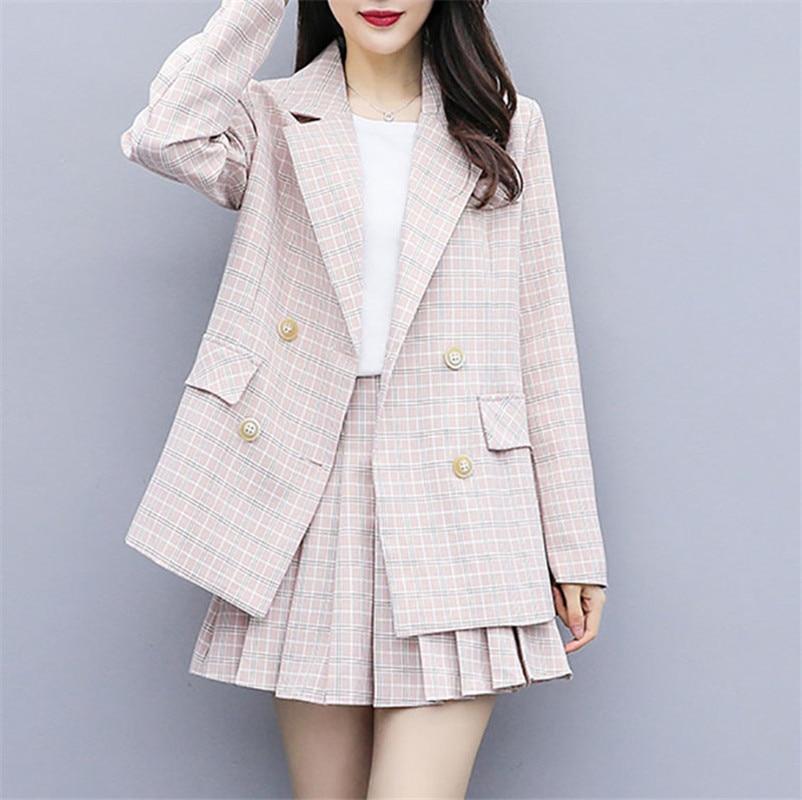 MUMUZI 2020 Spring Tweed 2 Piece Set Women Slim Plaid Short Set Fashion Trim Jacket Coat + Pleated Short Skirts Suit