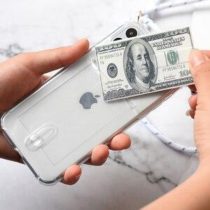 Image 2 - Слот для кредитной карты, прозрачный, прозрачный чехол для телефона 11 Pro XS MAX X XR 8 7 6 6S Plus цепочка из ТПУ мягкий ремешок