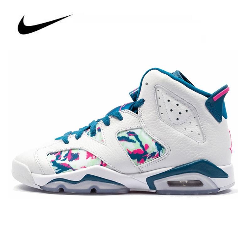 Jordan Shoes Women Nike Air Jordan 6 Retro Green Abyss GS Women Basketball Shoes Sneakers Original High Top 543390-153