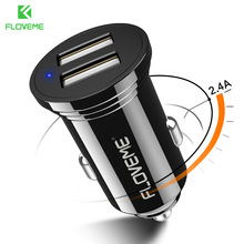 Mini Dual USB Car Charger for iPhone X 8 plus 2.4A Car-Charger Fast Mobile Phone Samsung Xiaomi