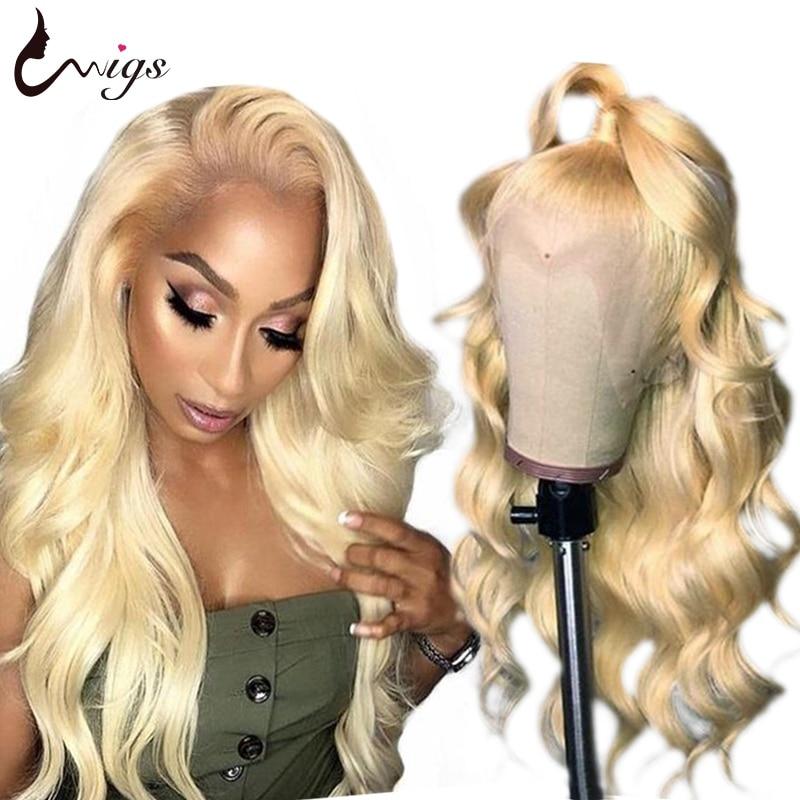 Uwigs 613 loira peruca dianteira do laço 13x4 peruca brasileira da onda do corpo 150 densidade frente do laço perucas de cabelo humano remy perucas de renda transparente