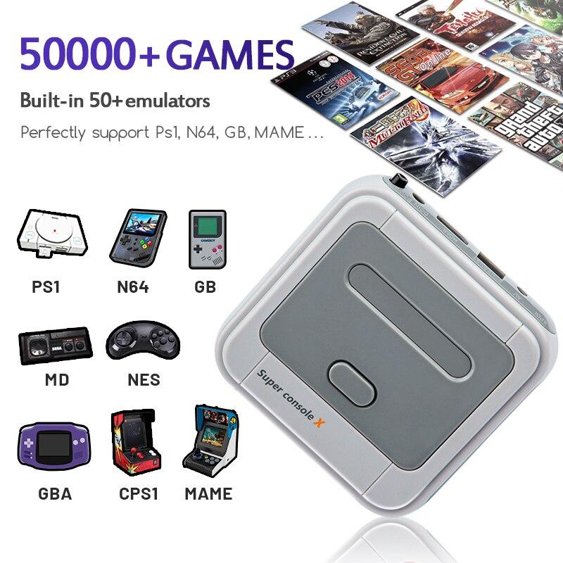Console super retro x de wifi com 50000 jogos com controladores sem fios de 2.4g 4k consolas de jogos de vídeo da tevê hd para psp/n64/dc/nds/ps